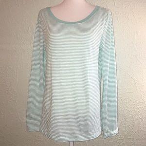 SPLENDID Sz XL Aqua & White Stripe Shirt